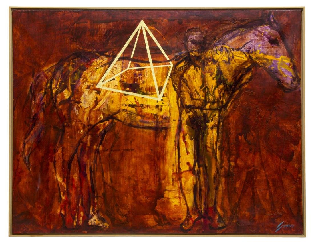 PEP SUARI (SPAIN, B.1957) FRAMED ACRYLIC PAINTING