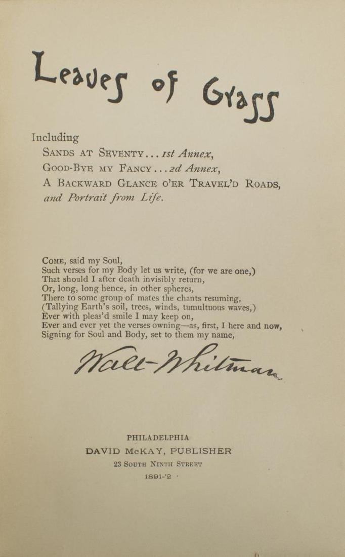 SCARCE WHITMAN, LEAVES OF GRASS, 1892 DEATHBED ED. - 3