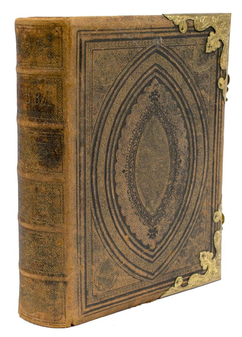 EMBOSSED LEATHER & BRASS BOUND BIBLE, 19TH C.