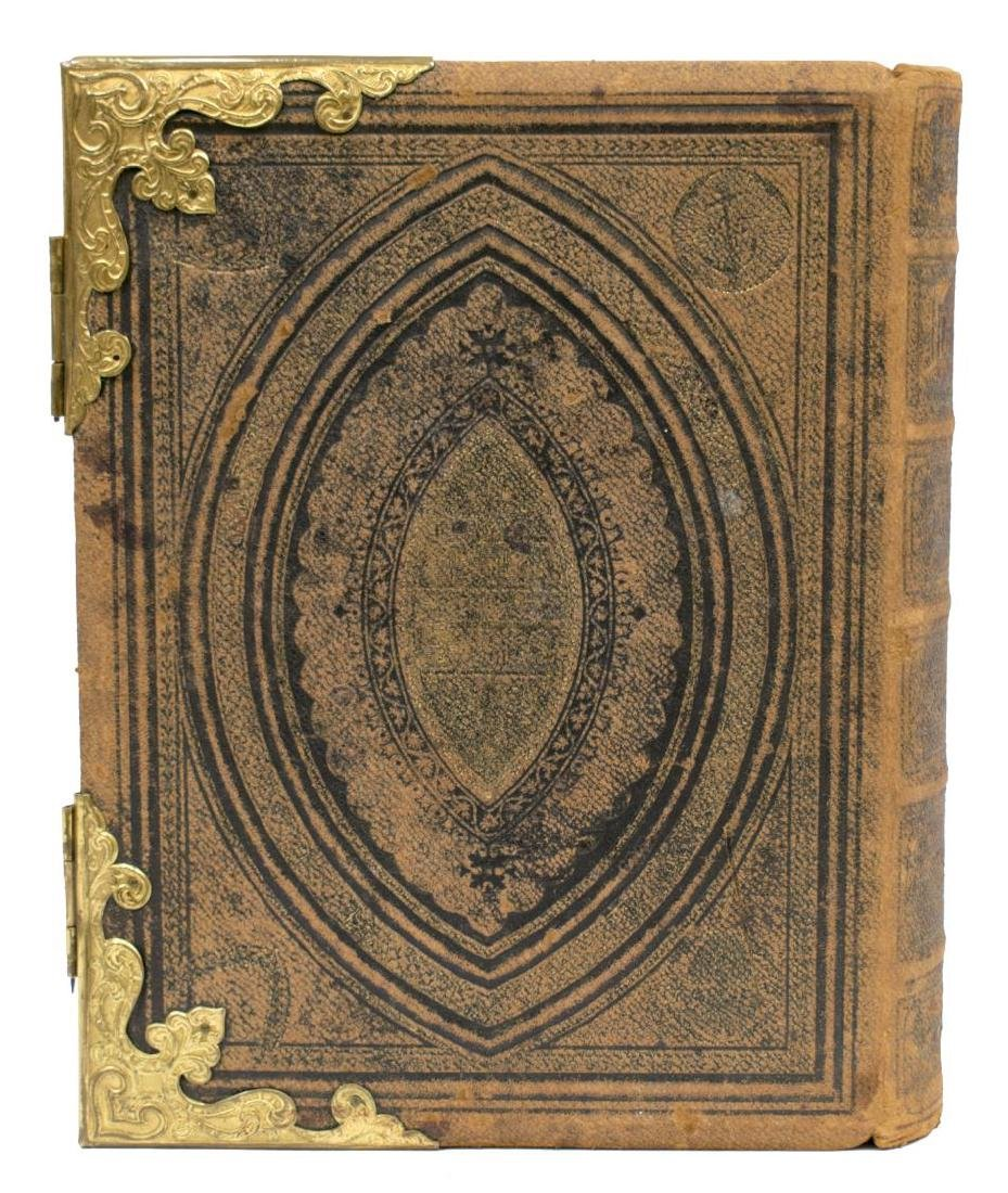 EMBOSSED LEATHER & BRASS BOUND BIBLE, 19TH C. - 3
