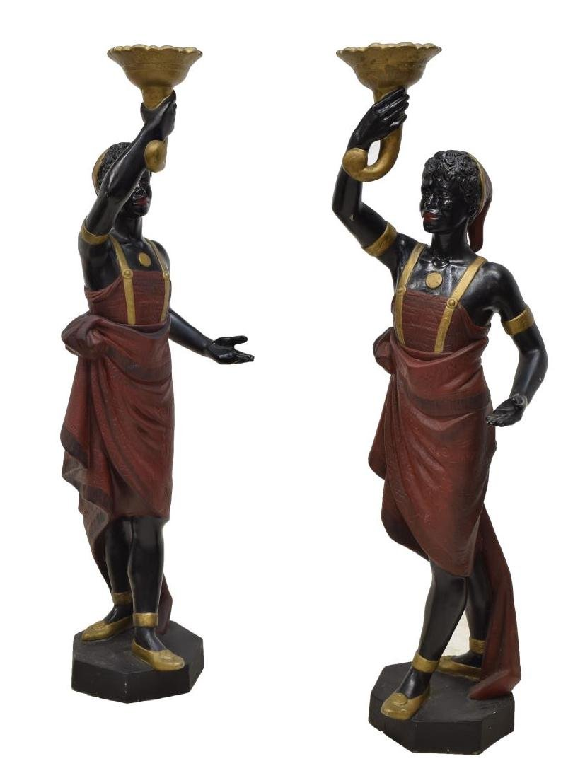 (2) BLACKAMOOR PARCEL GILT POLYCHROME FIGURES