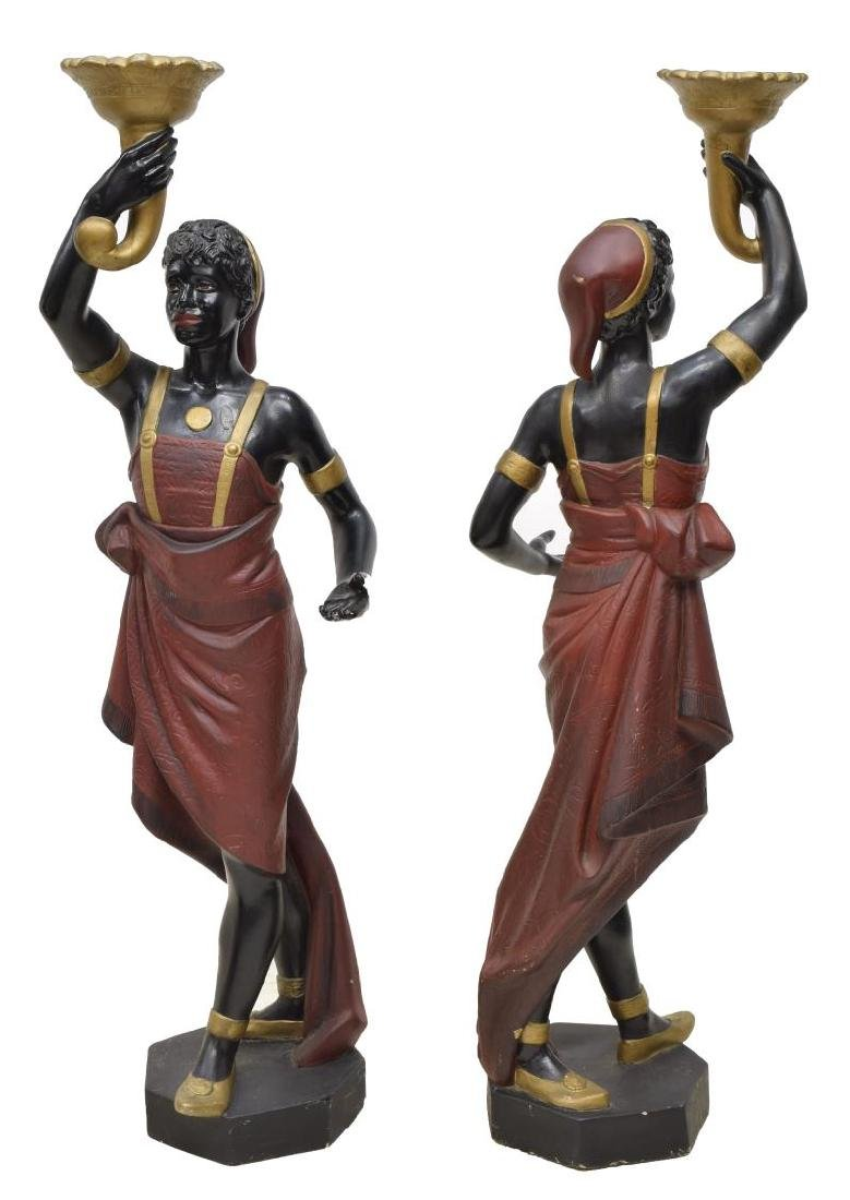 (2) BLACKAMOOR PARCEL GILT POLYCHROME FIGURES - 2