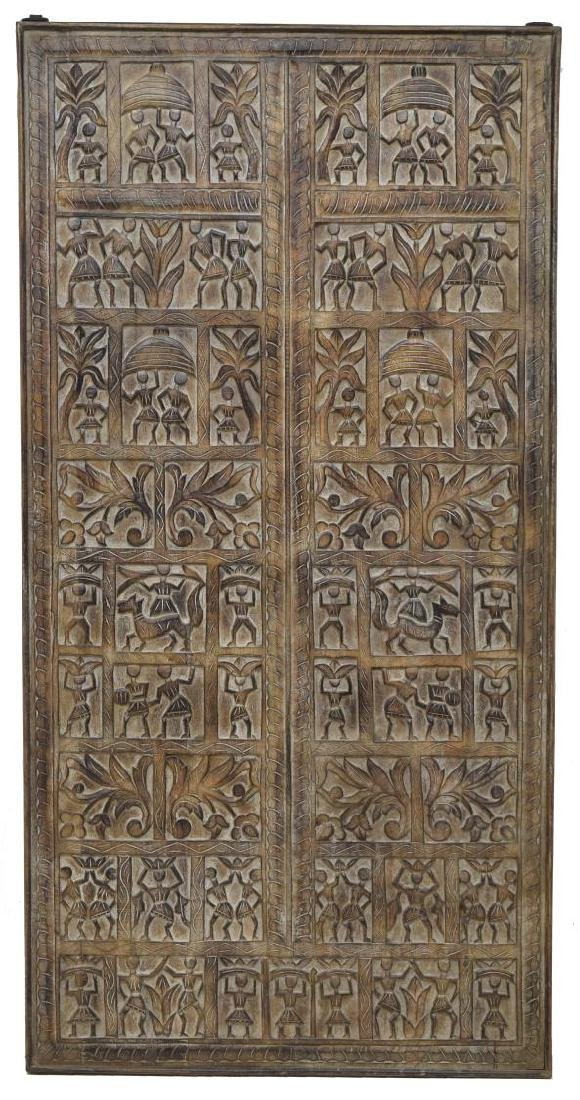 LARGE ARCHITECTURAL FIGURAL CARVED WALL PANEL