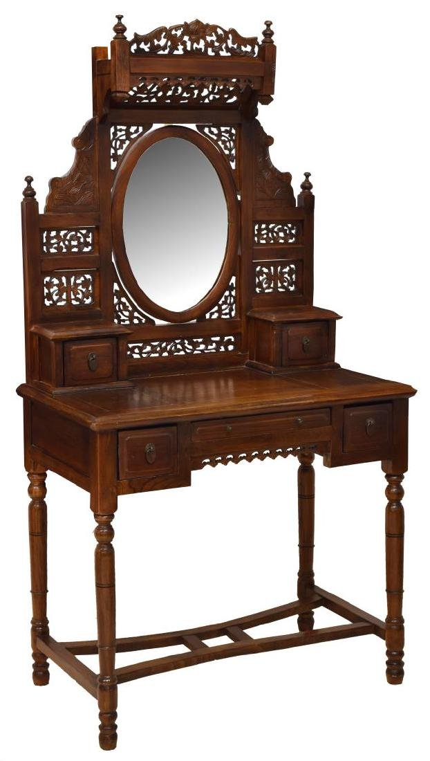 CHINESE STYLE CARVED HARDWOOD VANITY TABLE