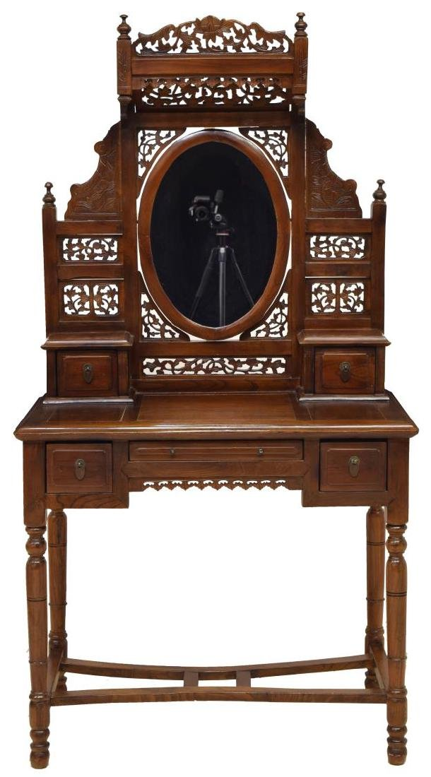 CHINESE STYLE CARVED HARDWOOD VANITY TABLE - 2