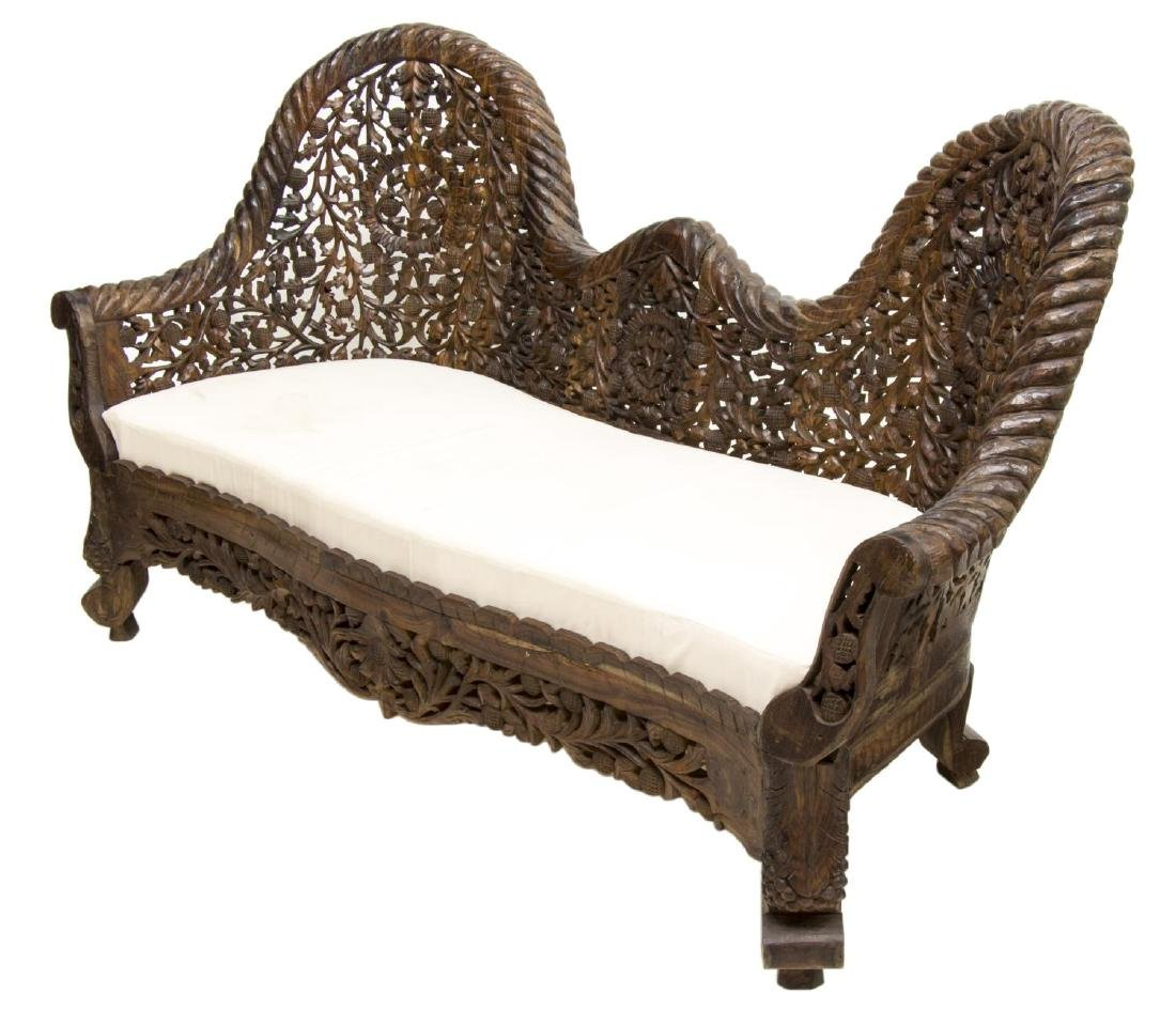 ANGLO-INDIAN HIGHLY CARVED TEAKWOOD SOFA