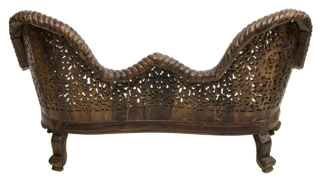 ANGLO-INDIAN HIGHLY CARVED TEAKWOOD SOFA - 3
