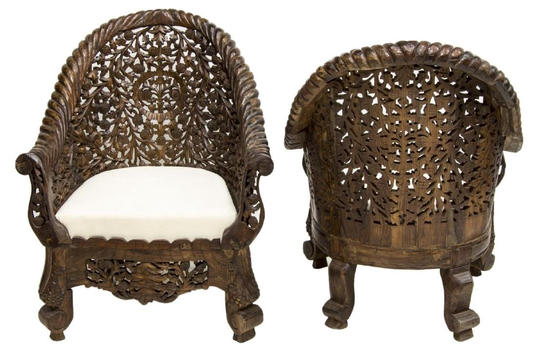 (PAIR) CARVED PIERCED ANGLO-INDIAN TEAK ARMCHAIRS - 2