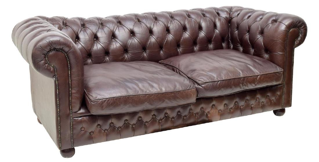 CHESTERFIELD BROWN LEATHER TWO-SEAT SOFA