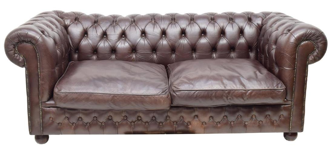 CHESTERFIELD BROWN LEATHER TWO-SEAT SOFA - 2