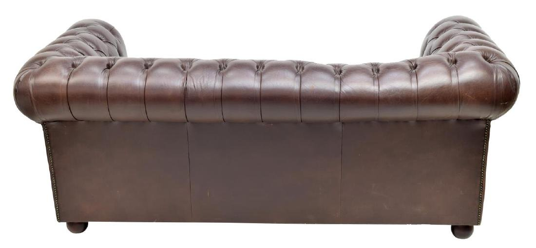 CHESTERFIELD BROWN LEATHER TWO-SEAT SOFA - 3