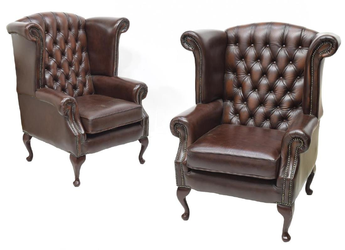 (2)CHESTERFIELD BROWN LEATHER QUEEN ANNE ARMCHAIRS