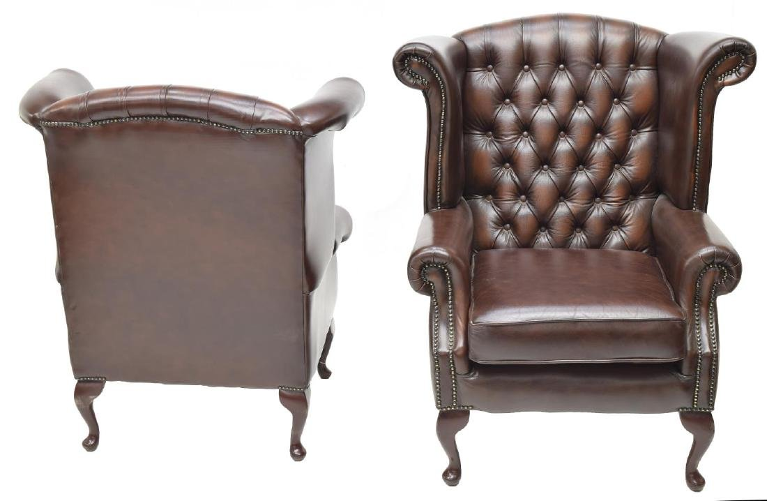(2)CHESTERFIELD BROWN LEATHER QUEEN ANNE ARMCHAIRS - 2