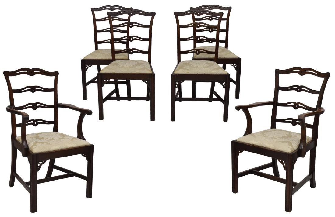 (6) CARVED MAHOGANY RIBBON BACK ARM & SIDE CHAIRS