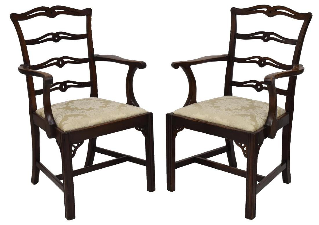 (6) CARVED MAHOGANY RIBBON BACK ARM & SIDE CHAIRS - 2