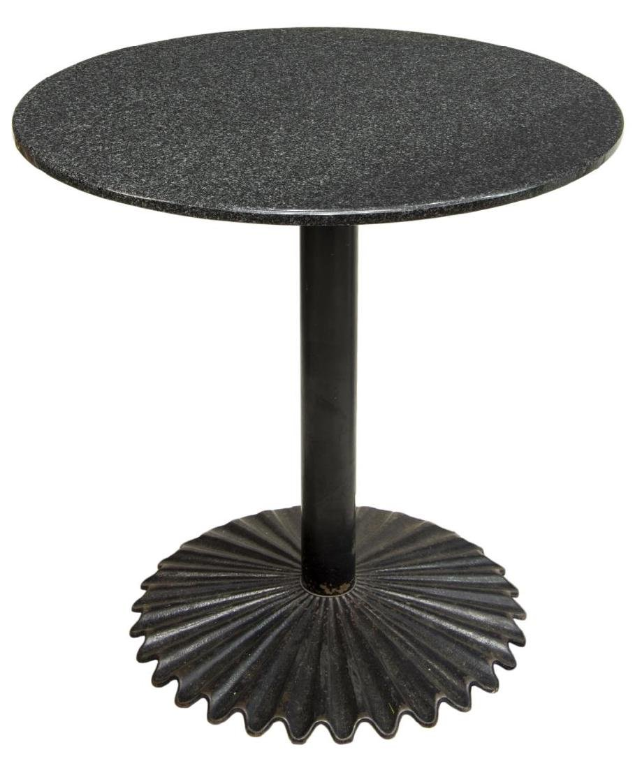 MARBLE TOP BLACK METAL BASE CAFE/PUB TABLE