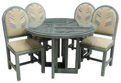 5 SOUTHWESTERN STYLE TABLE  FOUR CHAIRS