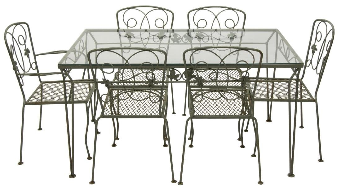 (7) PAINTED WROUGHT IRON GARDEN TABLE & CHAIRS