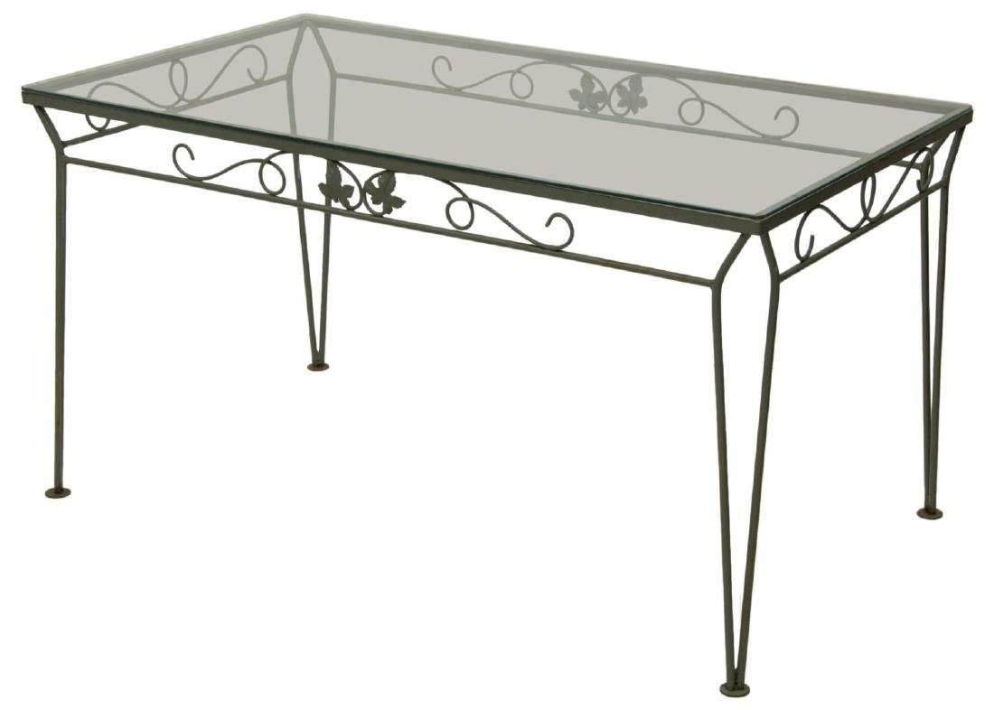 (7) PAINTED WROUGHT IRON GARDEN TABLE & CHAIRS - 2