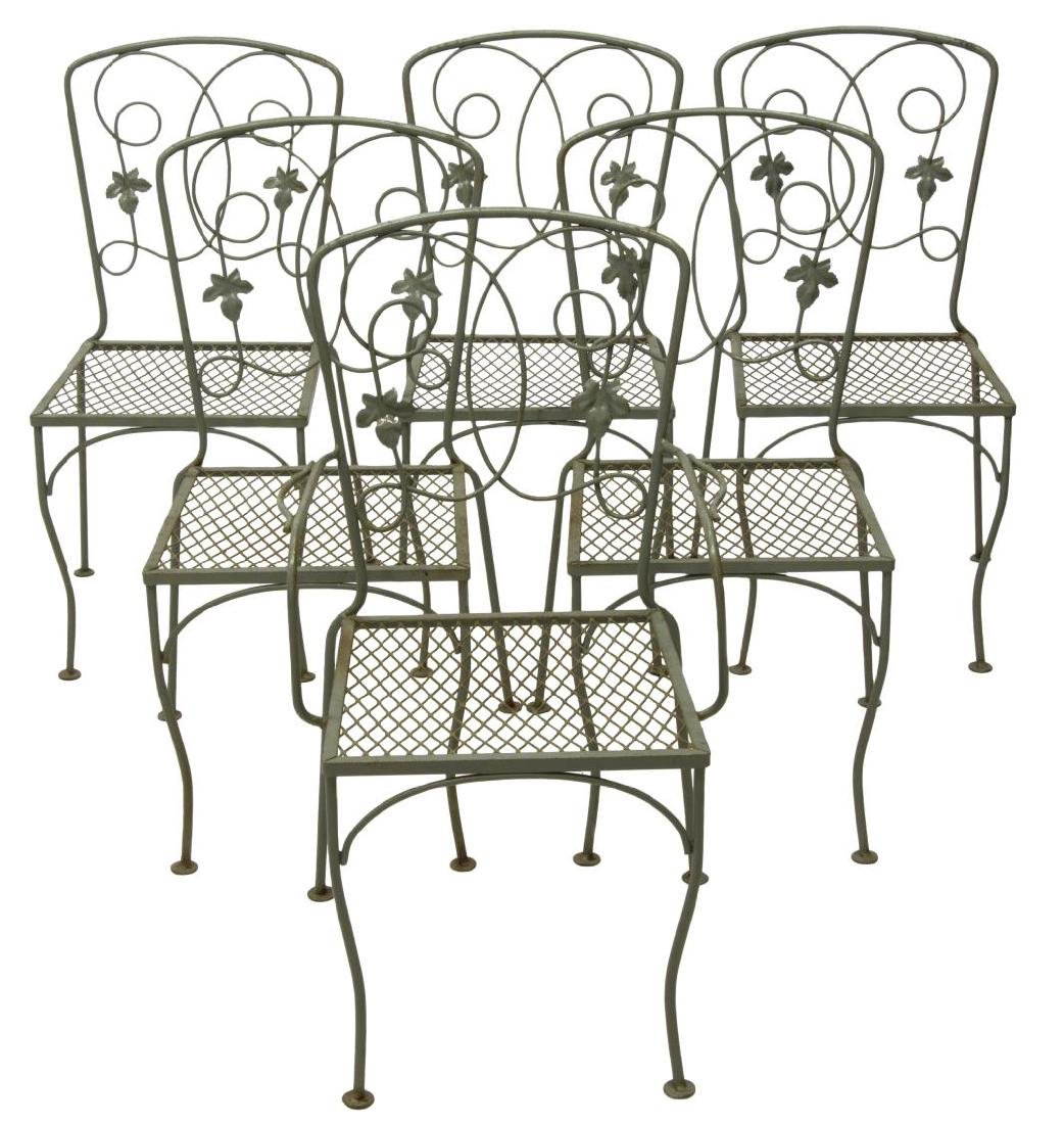 (7) PAINTED WROUGHT IRON GARDEN TABLE & CHAIRS - 3