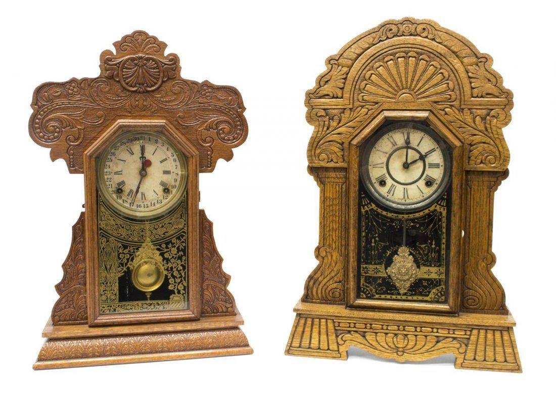 (2) AMERICAN GINGERBREAD OAK KITCHEN CLOCKS