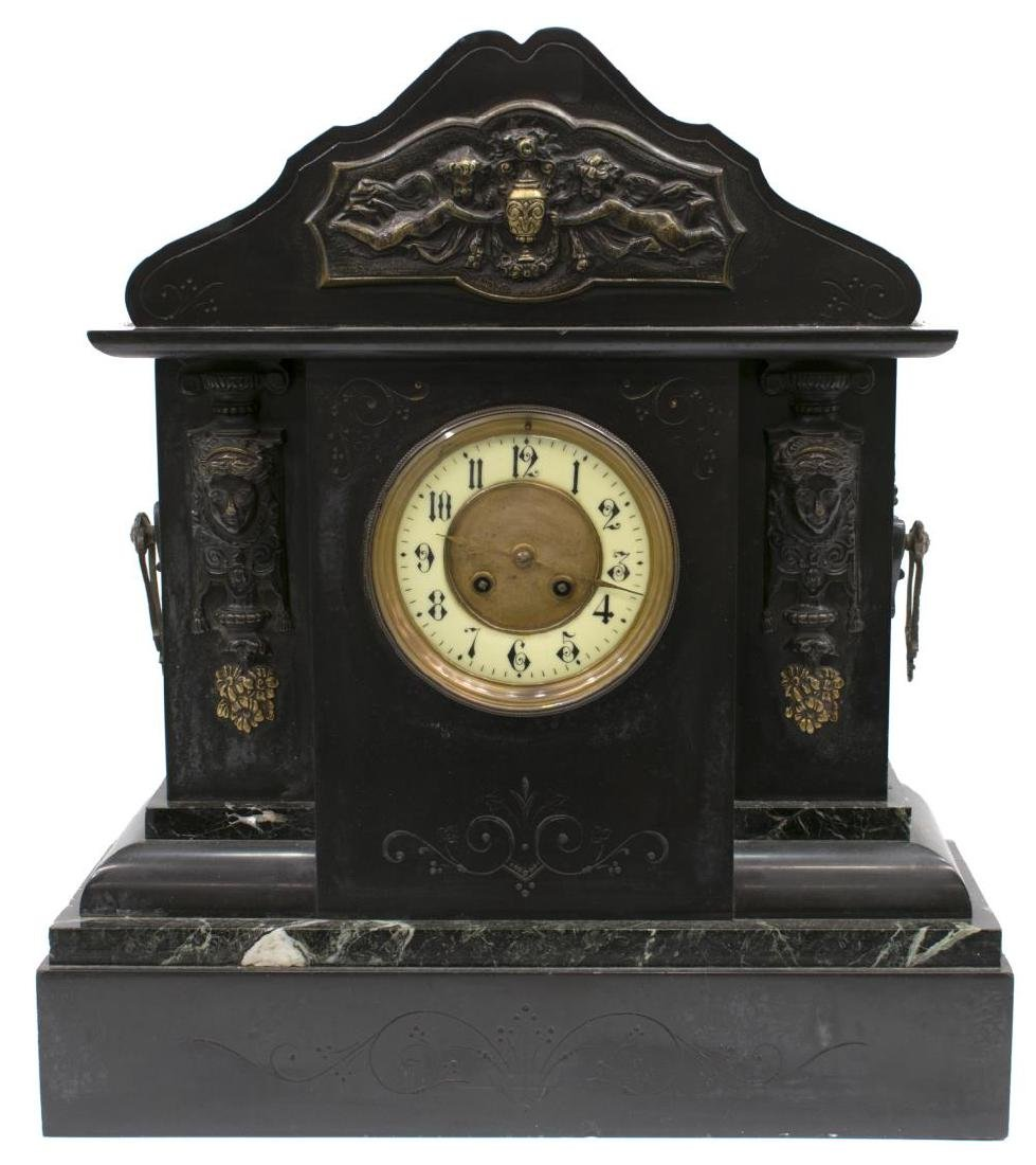 LATE VICTORIAN SLATE & MARBLE CASED MANTLE CLOCK