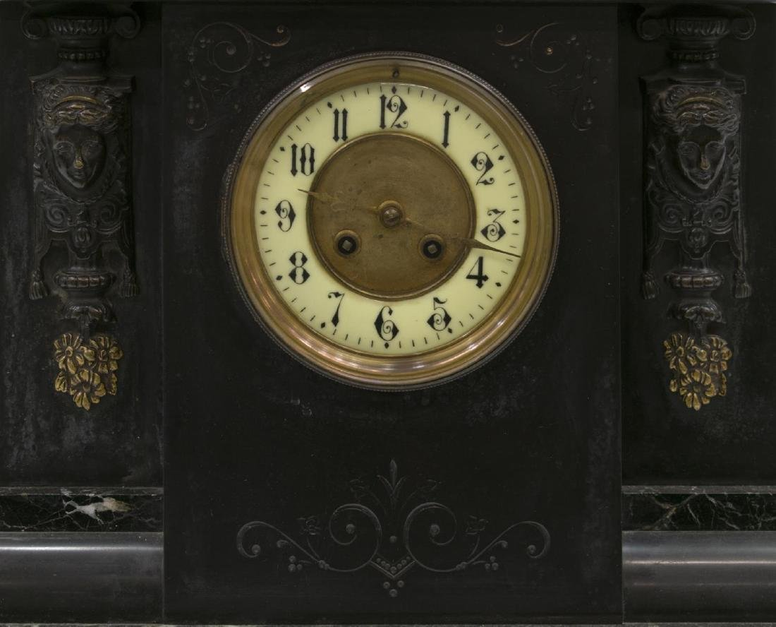 LATE VICTORIAN SLATE & MARBLE CASED MANTLE CLOCK - 2