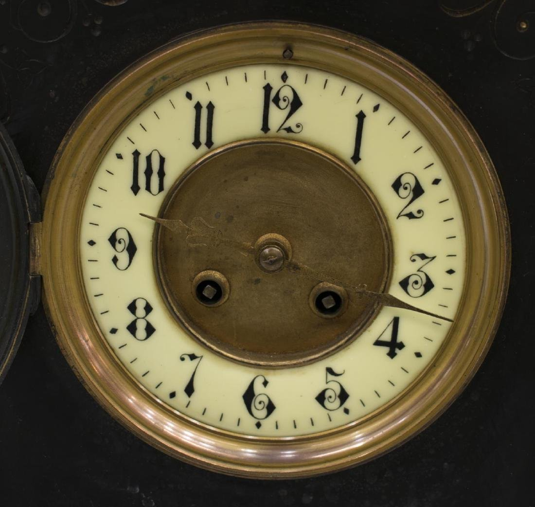 LATE VICTORIAN SLATE & MARBLE CASED MANTLE CLOCK - 3
