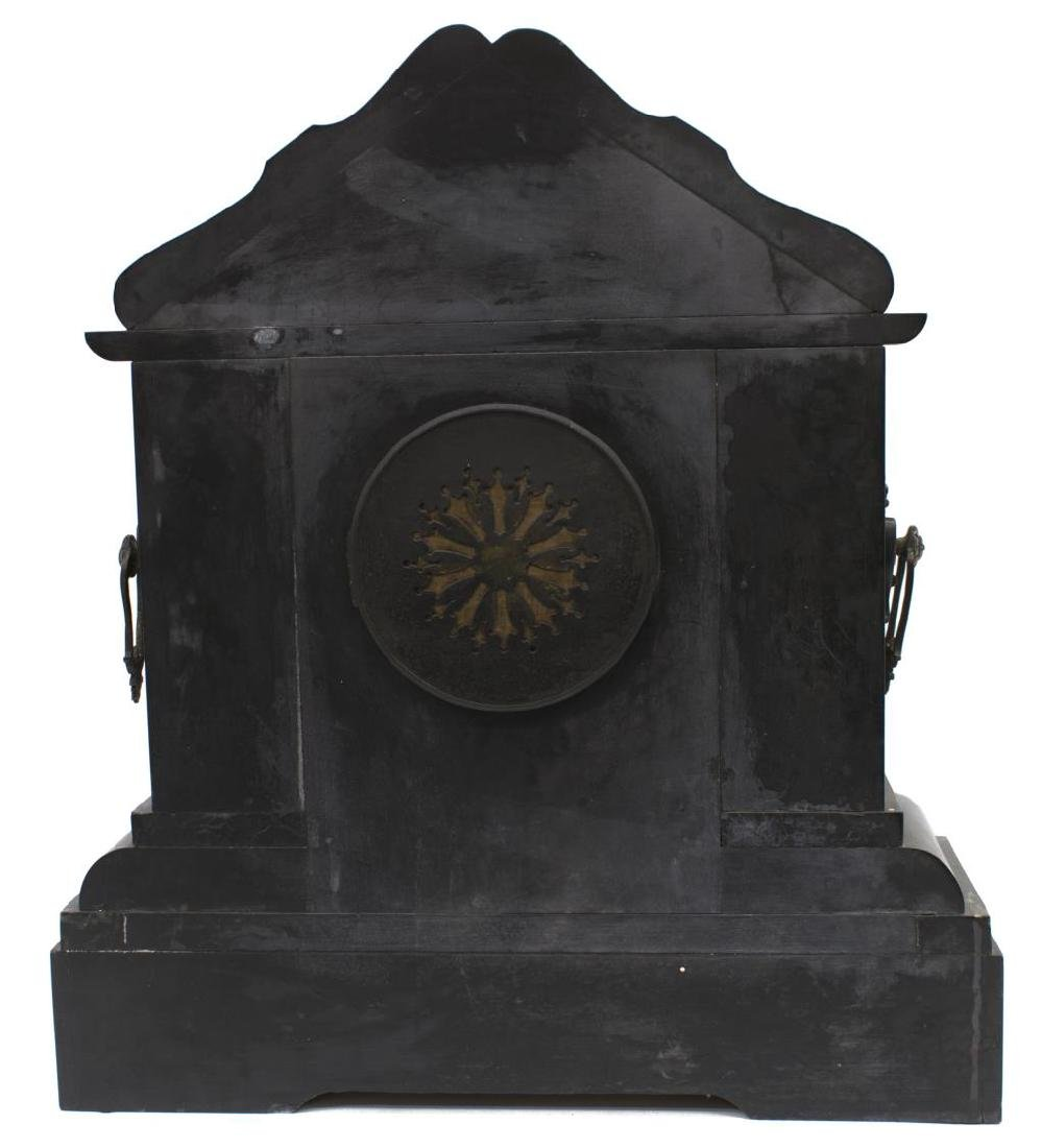 LATE VICTORIAN SLATE & MARBLE CASED MANTLE CLOCK - 4