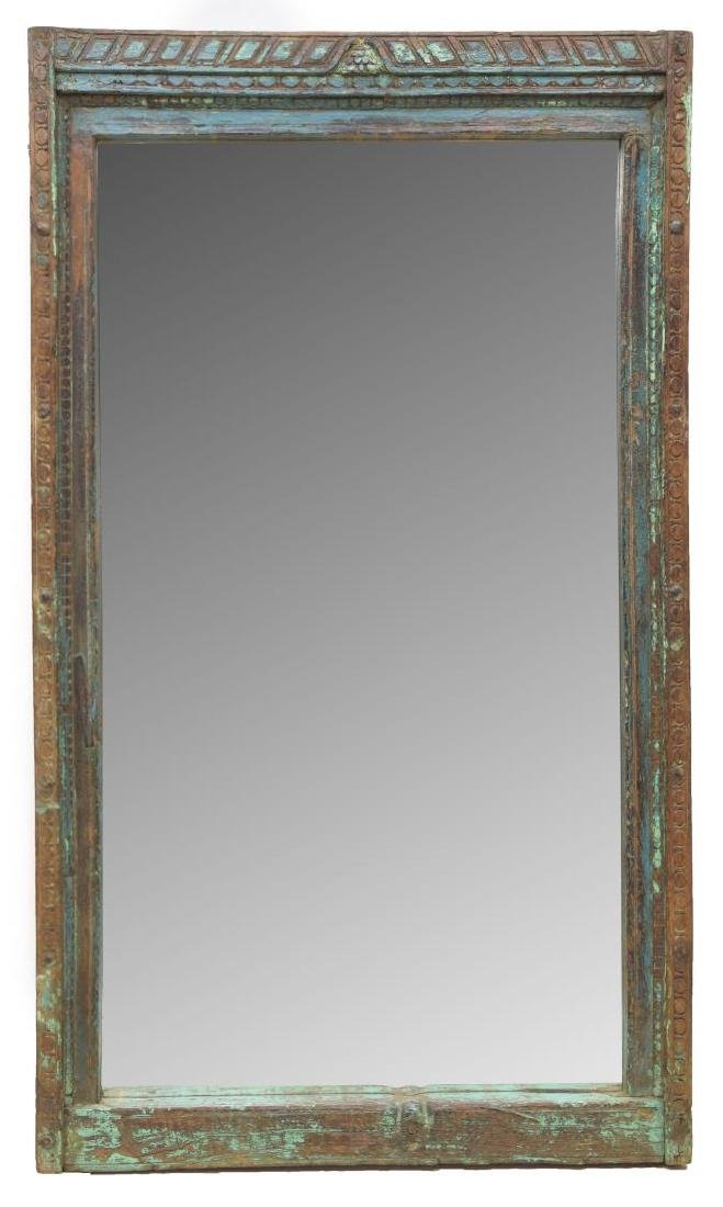 ARCHITECTURAL CARVED PAINTED TEAKWOOD MIRROR