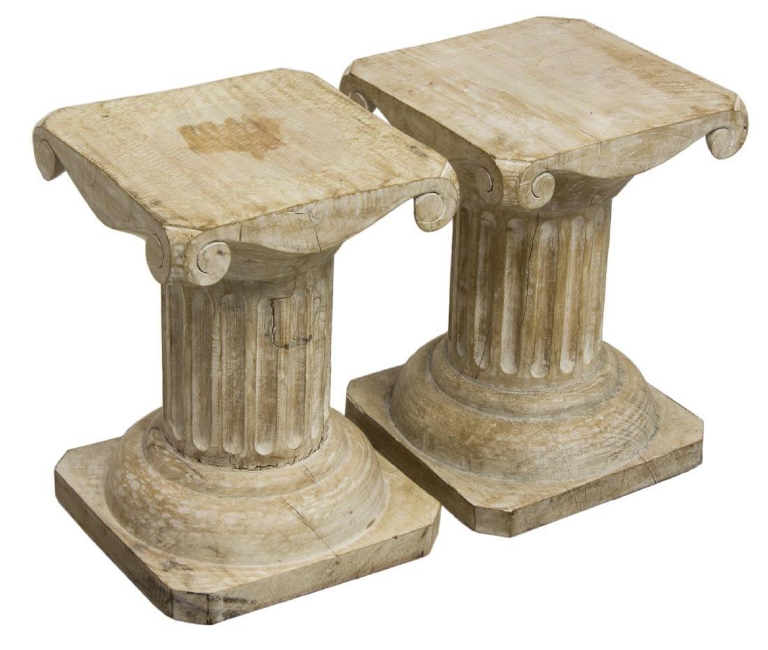 (2) LIMED WALNUT IONIC COLUMN PEDESTALS