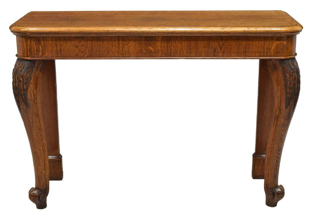 ENGLISH VICTORIAN OAK CABRIOLE LEG CONSOLE TABLE - 2