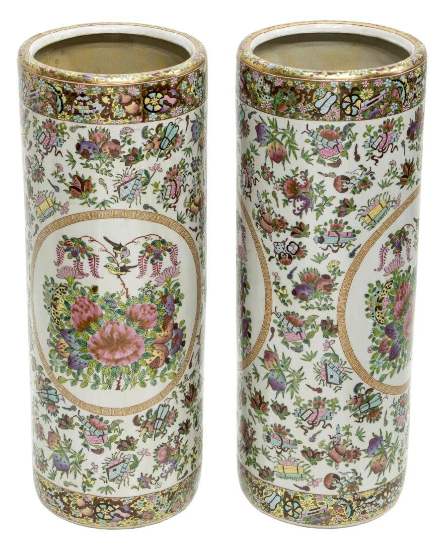 (2) CHINESE ROSE MEDALLION UMBRELLA STANDS