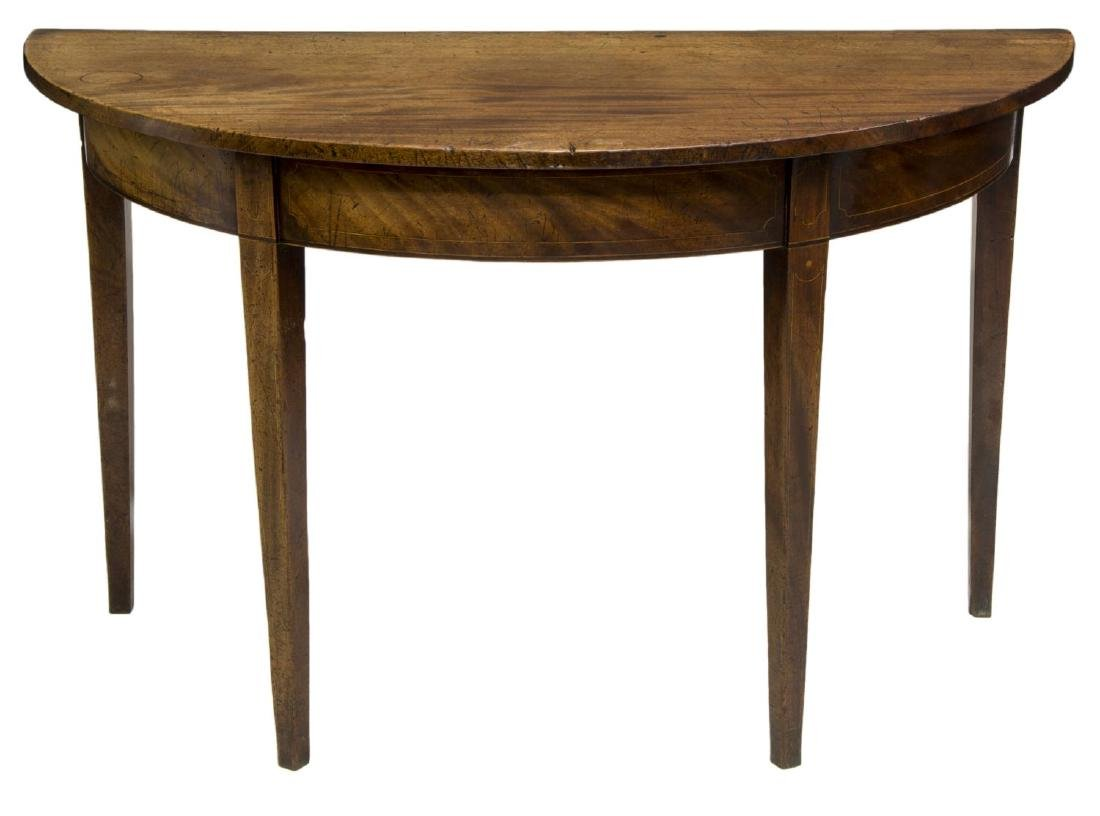 GEORGIAN MAHOGANY DEMILUNE MARQUETRY CONSOLE TABLE