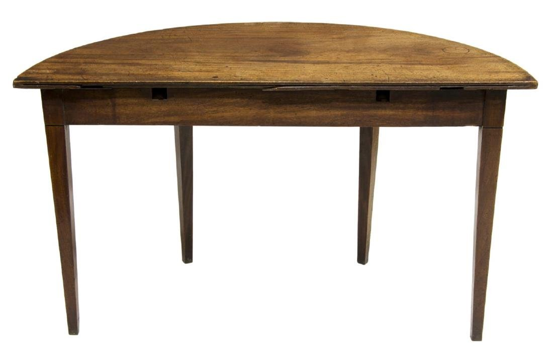 GEORGIAN MAHOGANY DEMILUNE MARQUETRY CONSOLE TABLE - 3
