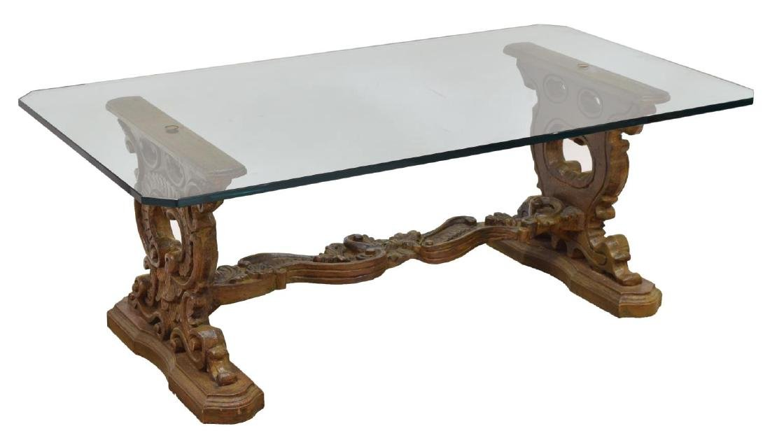 ROCOCO-STYLE CARVED WOOD GLASS TOP SOFA TABLE
