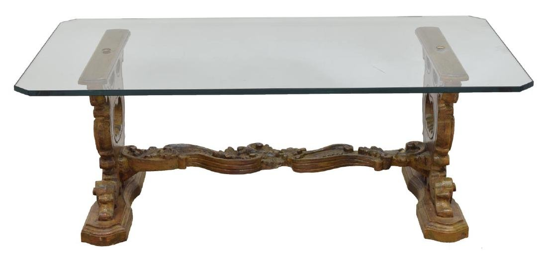 ROCOCO-STYLE CARVED WOOD GLASS TOP SOFA TABLE - 2