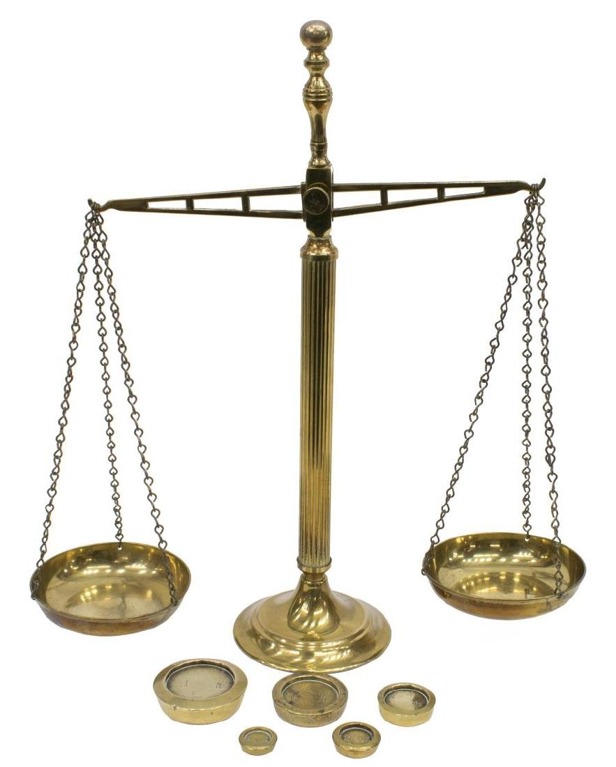 ENGLISH BRASS BALANCE SCALE & WEIGHTS