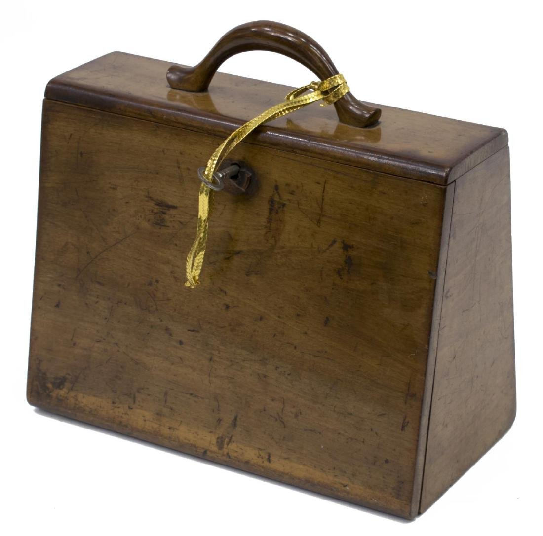 DIMINUTIVE ENGLISH WALNUT TRAVELING BOX