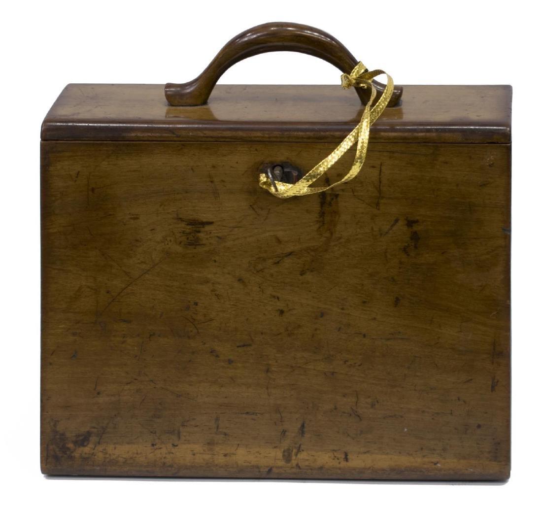 DIMINUTIVE ENGLISH WALNUT TRAVELING BOX - 2