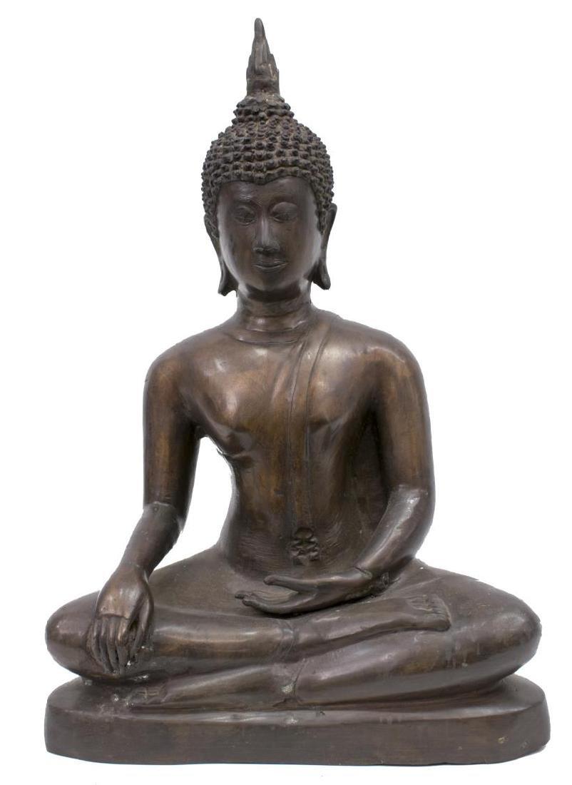 LARGE THAI PATINATED BRONZE FIGURE, SEATED BUDDHA