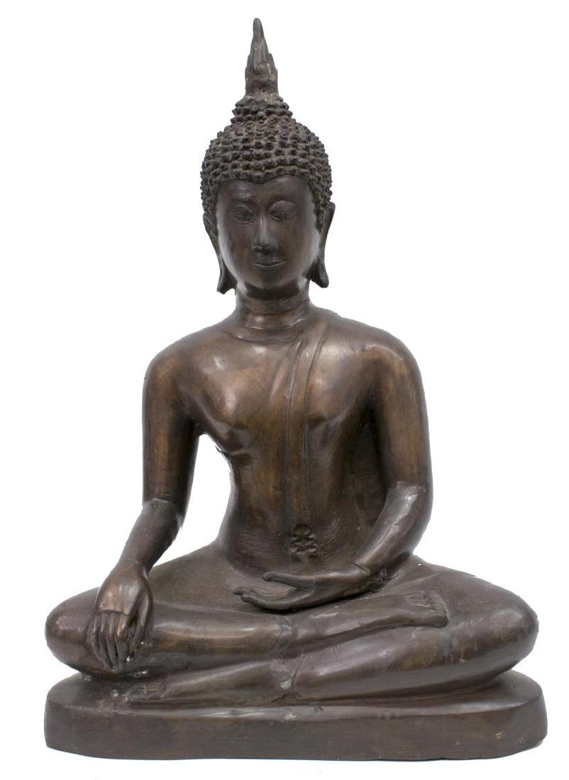 LARGE THAI PATINATED BRONZE FIGURE, SEATED BUDDHA