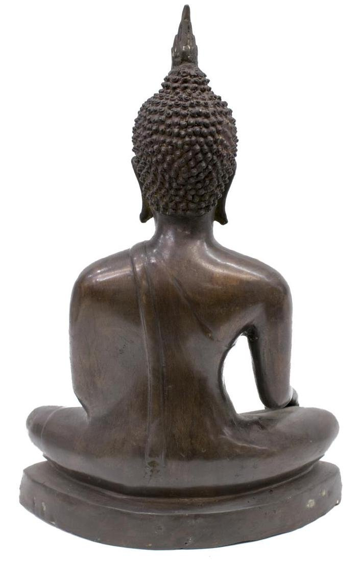 LARGE THAI PATINATED BRONZE FIGURE, SEATED BUDDHA - 2