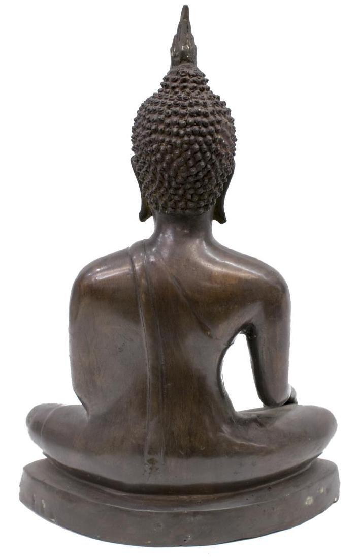 LARGE THAI PATINATED BRONZE FIGURE, SEATED BUDDHA - 2