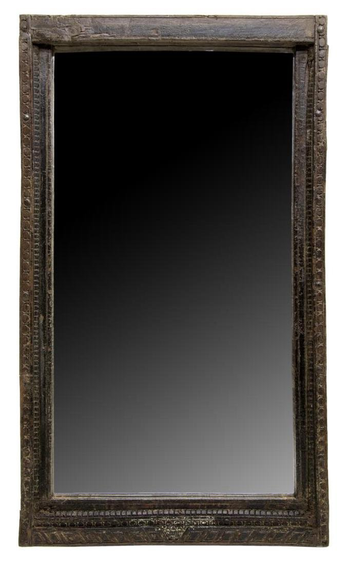 ARCHITECTURAL CARVED TEAKWOOD WALL MIRROR