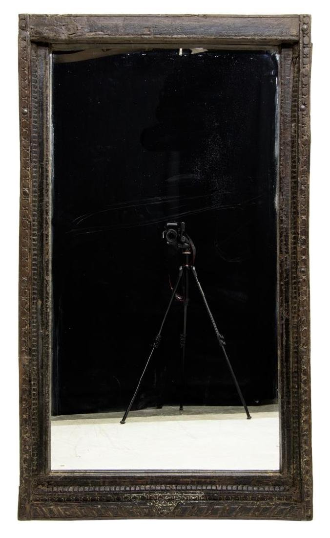 ARCHITECTURAL CARVED TEAKWOOD WALL MIRROR - 2