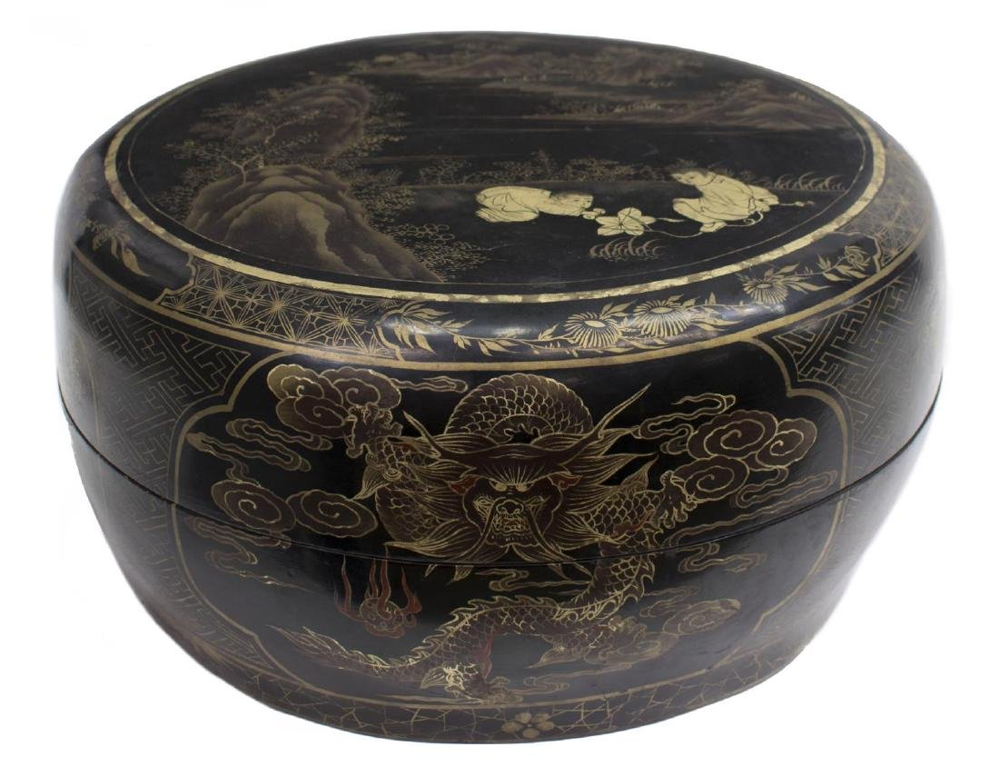 CHINESE BLACK LACQUER PARCEL GILT ROUND BOX
