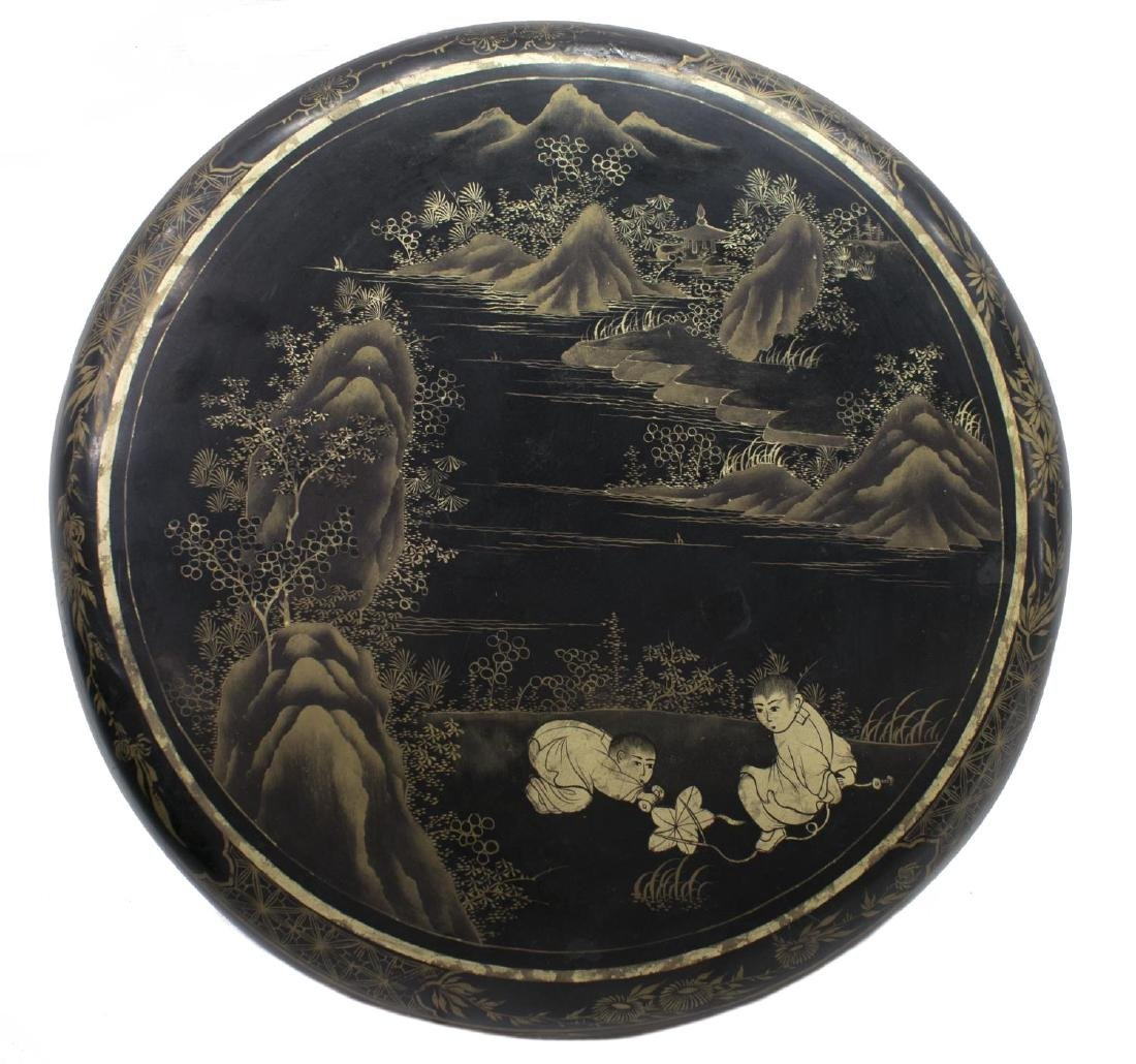 CHINESE BLACK LACQUER PARCEL GILT ROUND BOX - 3