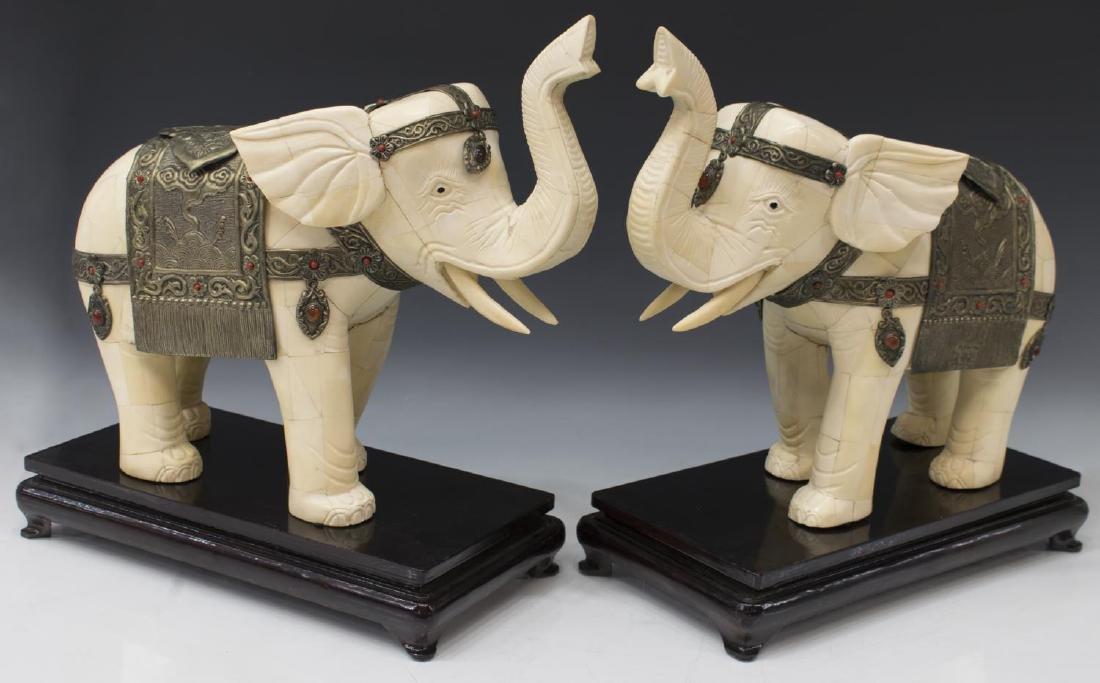 (2) LARGE CHINESE TILED BONE STANDING ELEPHANTS