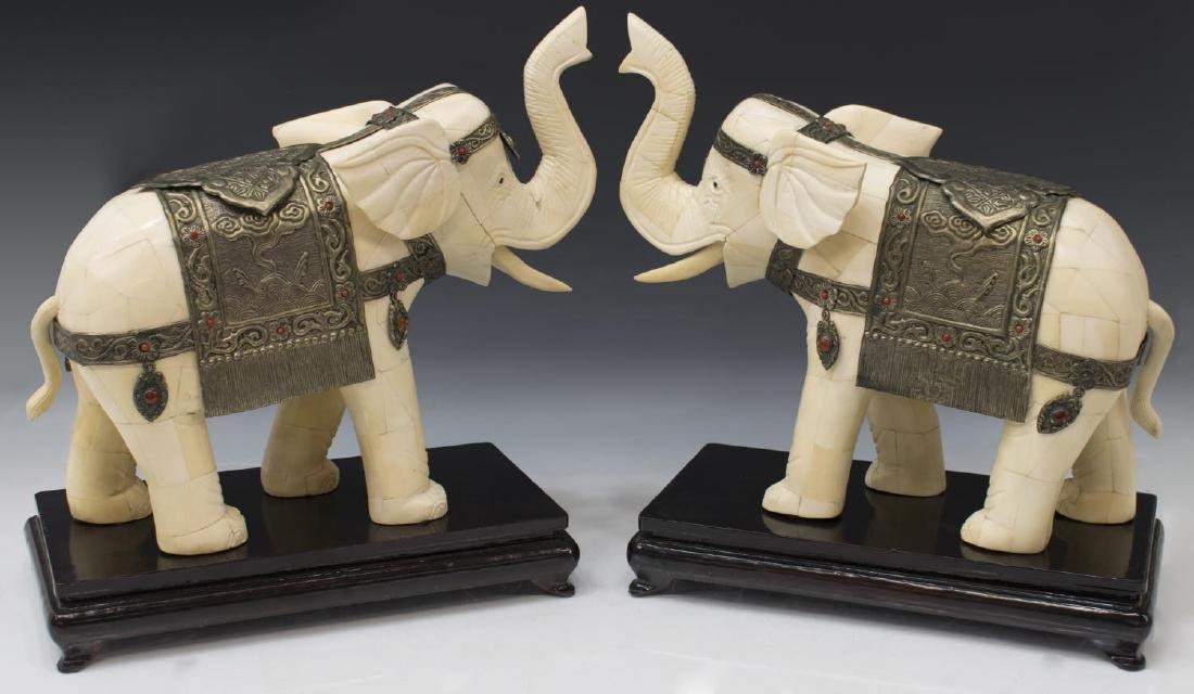 (2) LARGE CHINESE TILED BONE STANDING ELEPHANTS - 2